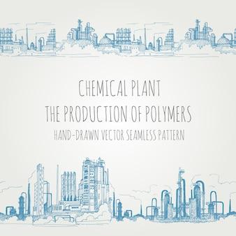 Bordure transparente des bâtiments de production et des bâtiments d'usine, dessinée à la main dans un style de croquis.