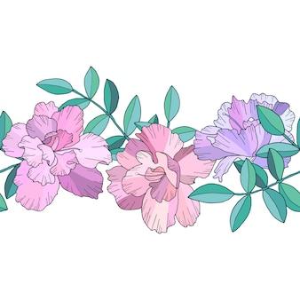 Bordure transparente ou brosse avec des fleurs roses abstraites et des branches vertes avec des feuilles. illustration dessinée à la main.