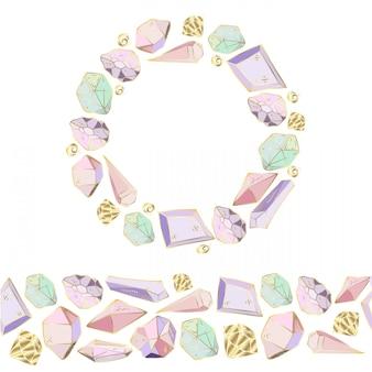 Bordure transparente de cadres de cristaux