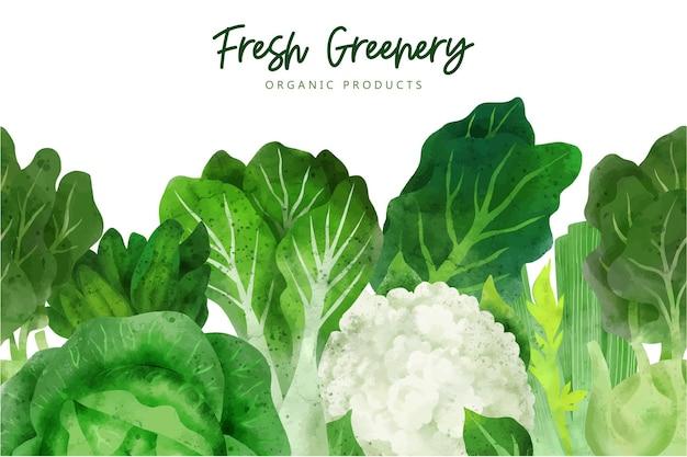 Bordure transparente composée de légumes frais et d'herbes
