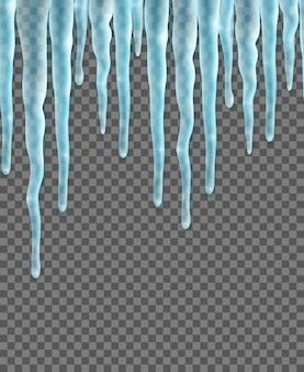 Bordure transparente avec des glaçons réalistes sur transparent