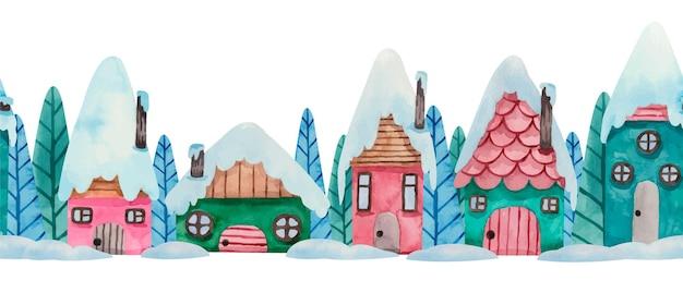 Bordure transparente de maisons d'hiver aquarelle