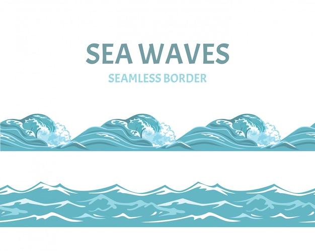 Bordure transparente de mer bleue de dessin animé et de vagues.