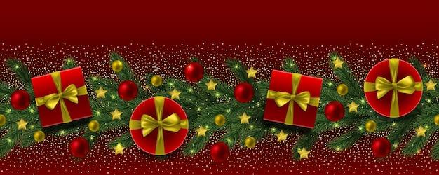 Bordure transparente de noël et du nouvel an avec des jouets de cadeaux de paillettes sur fond rouge