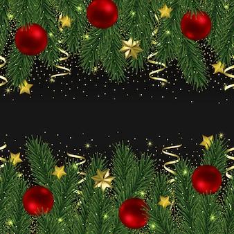 Bordure transparente de noël et du nouvel an avec des paillettes et des sapins