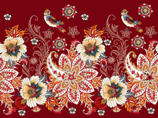 Bordure transparente avec paisley et fleurs