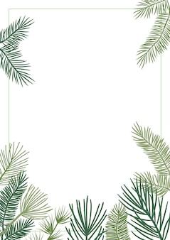 Bordure vectorielle de plante de noël avec des branches de sapin et de pin, une couronne à feuilles persistantes et des cadres de coins. carte vintage nature, illustration de feuillage