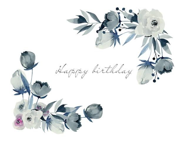 Bordures d'angle florales de roses et de plantes indigo aquarelle, dessinés à la main sur fond blanc