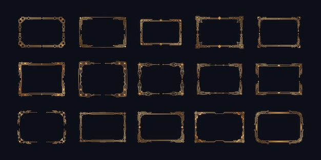 Bordures et cadres géométriques ornés d'éléments dans le style rétro des années 1920 de luxe