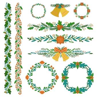 Bordures et cadres de noël dessinés à la main