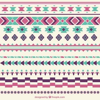 Bordures décoratives abstraites définies dans un style ethnique