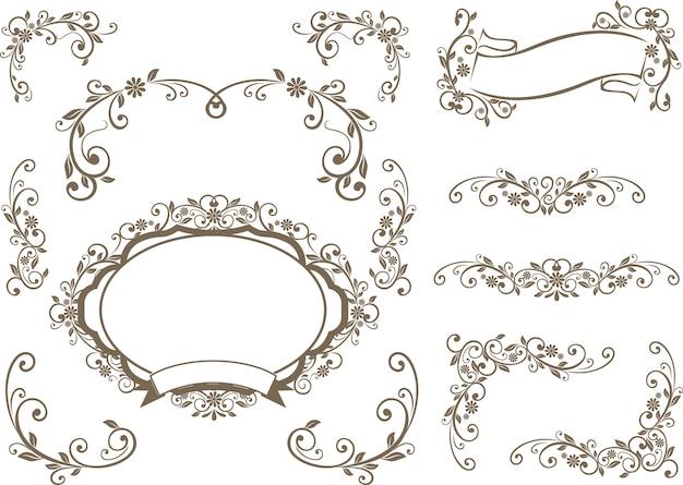 Bordures et étiquettes décoration florale