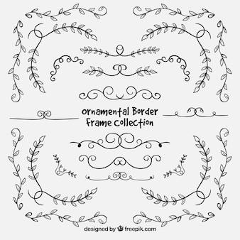 Bordures florales élégantes dessinées à la main