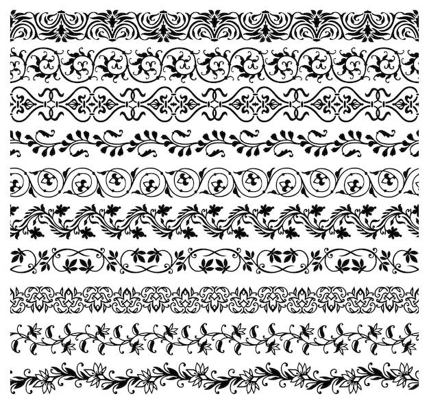 Bordures florales, lignes de cadre, diviseurs avec des fleurs
