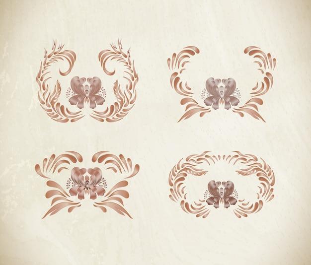 Bordures florales vintage marron