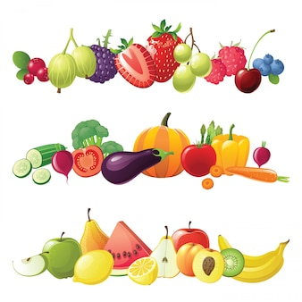 Bordures de fruits et de baies