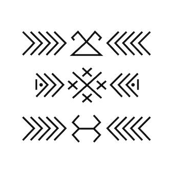 Bordures d'ornement d'art linéaire folklorique ethnique baltique.