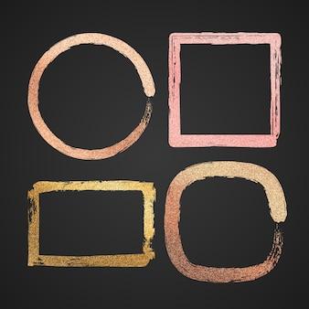 Bordures de peinture abstraites vecteur brillant métal or et rose isolés. illustration de contour de texture de cadre de paillettes rondes et carrées