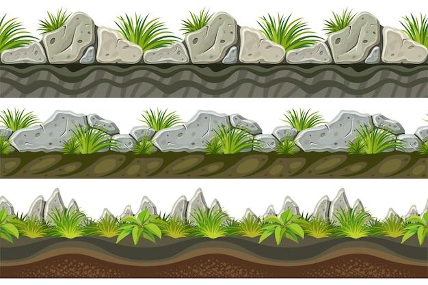 Bordures sans couture de roche grise, herbe avec sol.