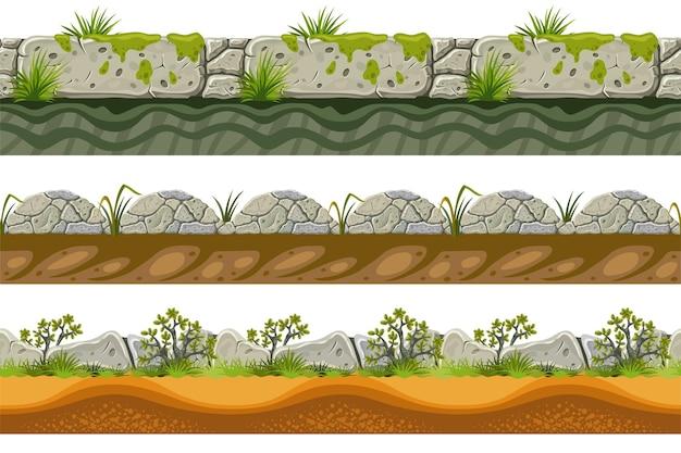 Bordures sans couture de roche grise, herbe avec de la terre.
