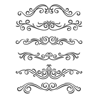 Bordures et séparateurs d'éléments décoratifs ornés. ensemble d'ornement calligraphique. décorations vintage
