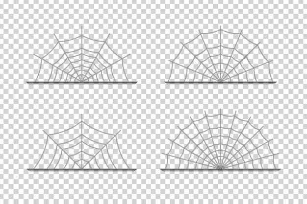 Bordures de toile d'araignée isolées réalistes