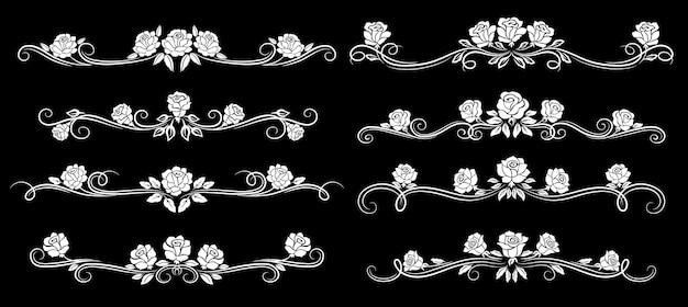Bordures vintage de fleurs roses, cadres de diviseurs floraux