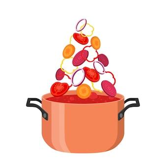 Borsch pot avec des ingrédients