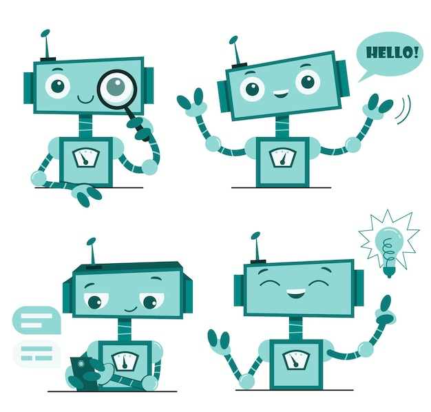Bot de chat de robots mignons souriants. caractère de service de soutien.