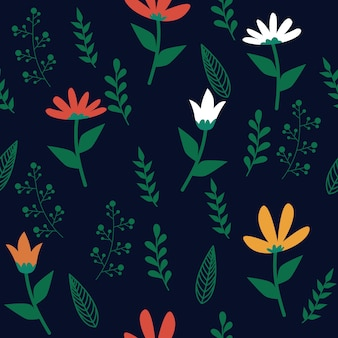 Botanical floral leaf seamless pattern