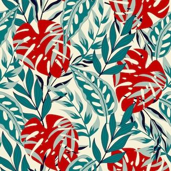 Botanical seamless pattern avec des feuilles tropicales