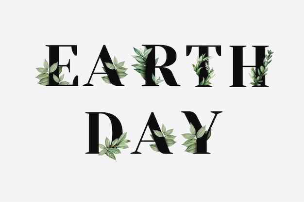 Botanique earth day mot vecteur noir typographie
