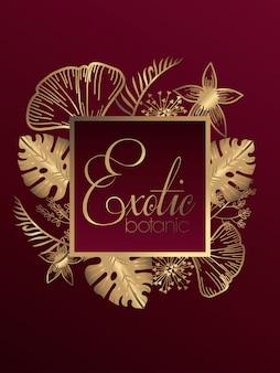 Botanique exotique de luxe cadre carré doré design illustration vectorielle