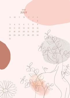 Botanique & femme juillet calendrier mensuel vecteur d'arrière-plan modifiable, esthétique féminine