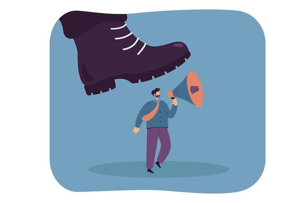 Une botte géante marche sur un petit ouvrier tenant un mégaphone