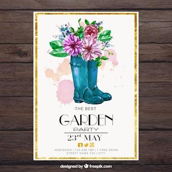 Bottes aquarelle avec des fleurs jardin carte du parti