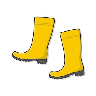 Bottes en caoutchouc jaune vector icon illustration. icône plate de bottes de pluie de chaussures d'automne