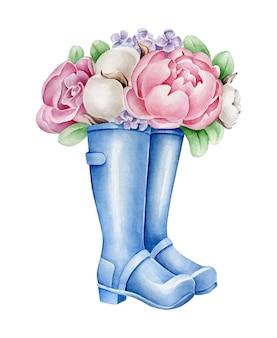 Bottes avec des fleurs isolés sur blanc