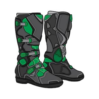 Bottes motocross noires et vertes