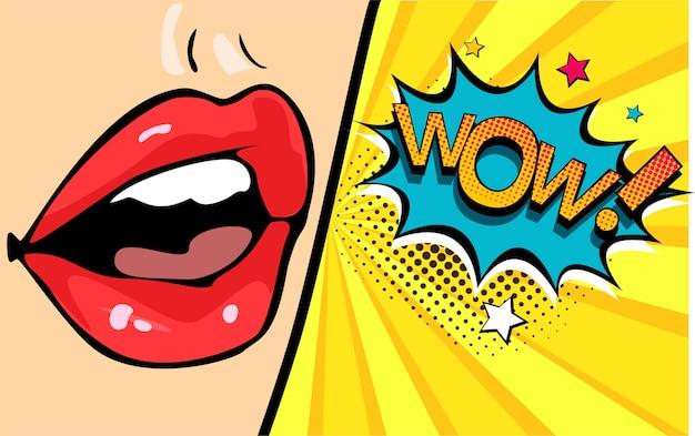 Bouche féminine avec bulle de dialogue wow
