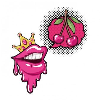 Bouche féminine avec icône isolé de bulle de dialogue