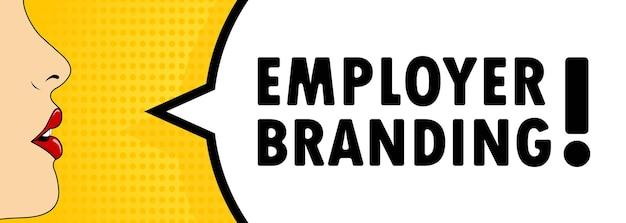 Bouche féminine avec rouge à lèvres criant bulle de dialogue de marque employeur. peut être utilisé pour les affaires, le marketing et la publicité. vecteur eps 10. isolé sur fond blanc.