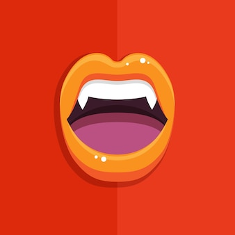 Bouche de vampire avec des lèvres rouges ouvertes et de longues dents sur fond rouge.