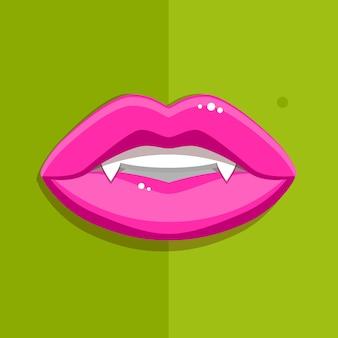 Bouche de vampire avec des lèvres rouges ouvertes et de longues dents sur fond vert.