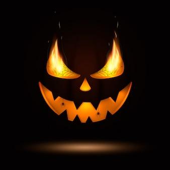 Bouche et yeux de citrouille d'halloween