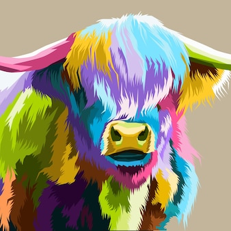 Bouchent illustration isolé de portrait de pop art coloré de buffle