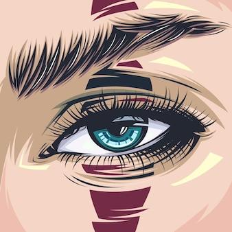 Bouchent l'illustration des yeux réalistes