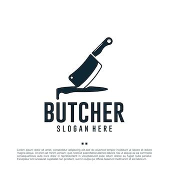 Boucher, couteau, modèle de conception de logo