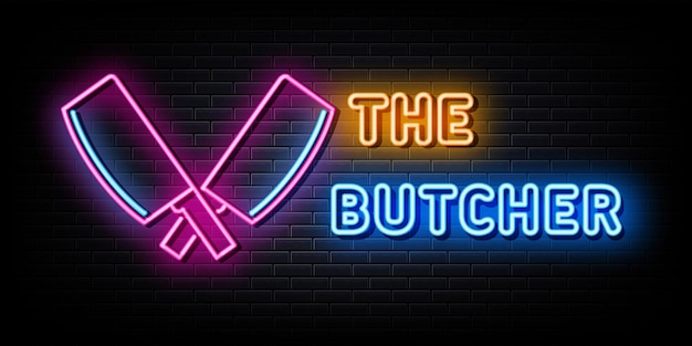 Boucher logo enseignes néon modèle conception vecteur style néon