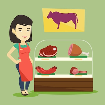 Boucher offrant de la viande fraîche en boucherie.